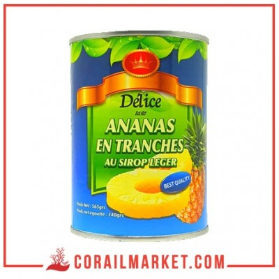 tranches d'ananas au sirop léger delice 565 g